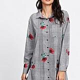 Shein Plaid and Flower Print Shirt Dress