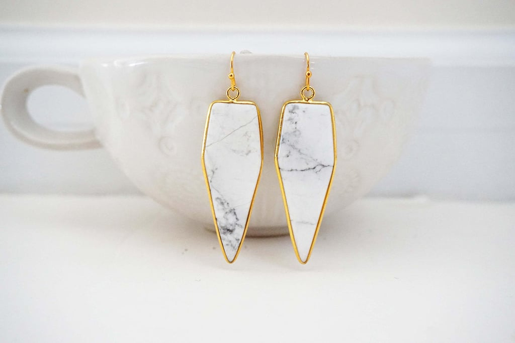 Marble and Gold Pendant Earrings