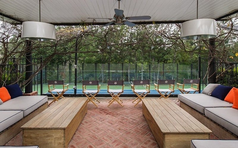 This elevated viewing box turns tennis matches at the Azrias' into a full spectator sport.