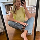Frankie Shop x Camille Charrière Eva Padded Shoulder Muscle T-Shirt in Pale Yellow