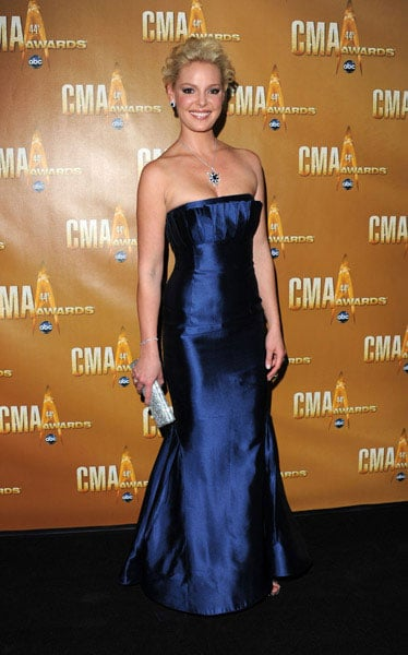 Katherine Heigl glowed in a metallic blue Farah Angsana gown.