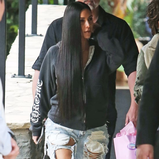 Kim Kardashian Ripped Jeans January 2017