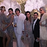 Kendall, Kylie, and Kris Jenner and Kim, Kourtney, and Khloé Kardashian all dazzled in silver jewel-embellished outfits. While Kendall's cocktail dress featured 100,000 crystals and is valued at $8,000, Khloé's net beaded stunner was covered in over 400,000 crystals — and is valued at $16,500! Meanwhile, Kim dressed her baby bump in a Fall '15 Marchesa gown.