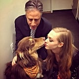 Amanda Seyfried received a kiss from her dog at The Daily Show.