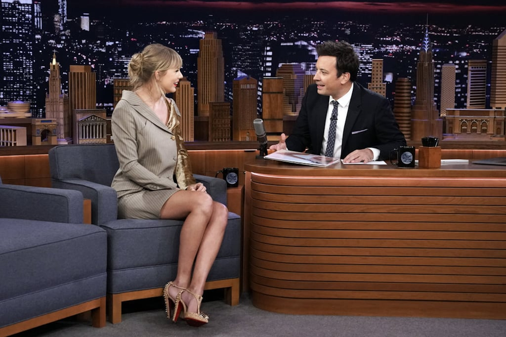 Taylor Swift's Two-Tone Velvet Blazer Dress on Fallon