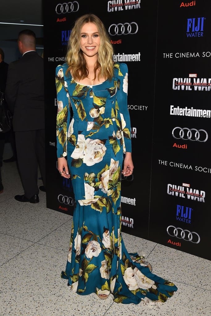 Elizabeth's a Vision in Florals For the Screening of Marvel's Captain America: Civil War