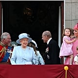 Kate and Prince Charles glanced happily at each other amid the 2017 Trooping the Colour celebrations on the balcony of Buckingham Palace.