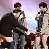 Pants were falling off when Seth Rogen, Zac Efron, and Danny McBride got together on stage.