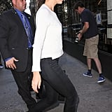 Katie Holmes headed into a restaurant in NYC.