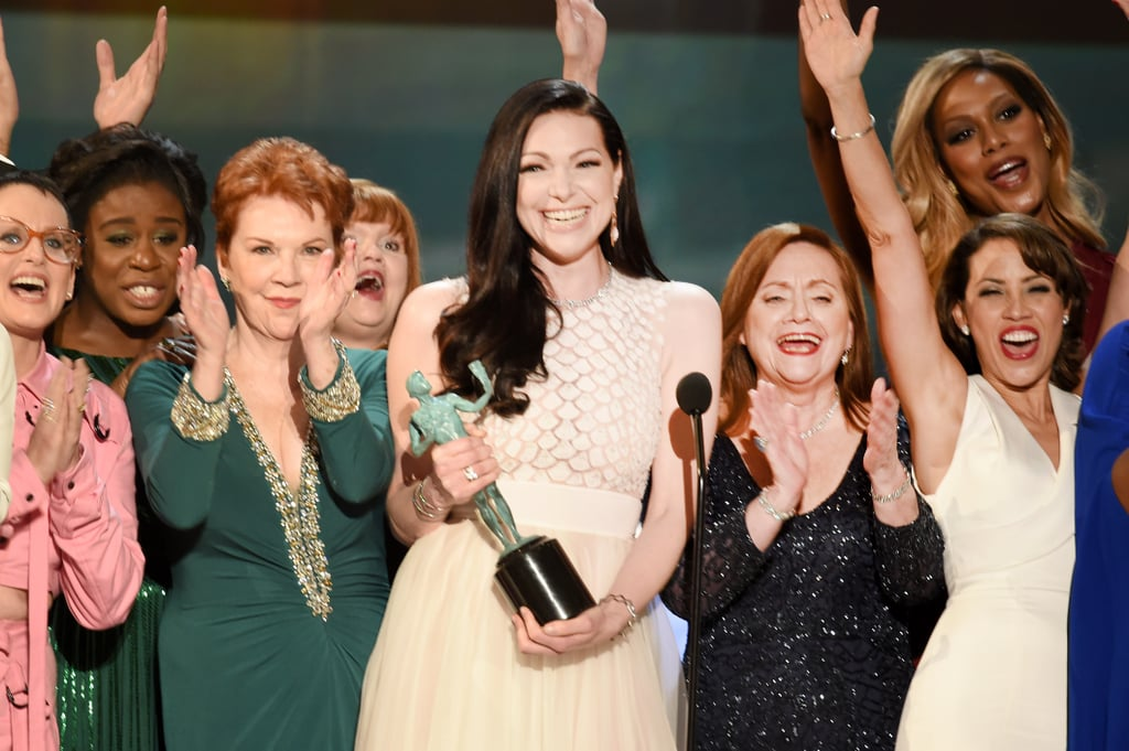 The cast of Orange Is the New Black took home the award for outstanding ensemble in a comedy series in 2016.