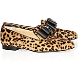 We're dying over these luxe leopard flats.  Christian Louboutin Dufferin Embellished Calf Hair Loafers ($1,295)