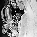 Grace Kelly and Prince Rainier exchange rings.