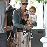 Elsa Pataky carried her daughter, India, into a hotel in Santa Monica.