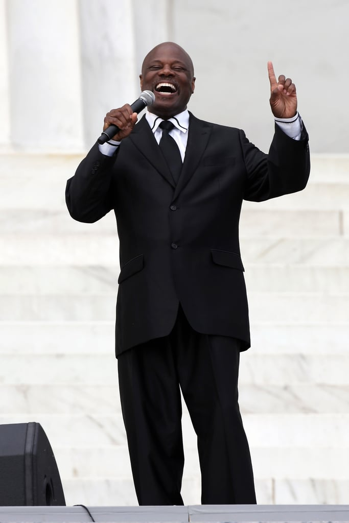 Reverend Wintley Phipps Sr. sang during the Let Freedom Ring ceremony at the Lincoln Memorial.