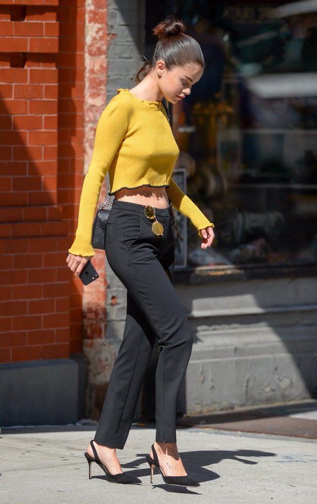 Selena Gomez Wearing Yellow Crop Top
