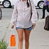 Rachel Bilson showed off her baby bump in LA on Tuesday.