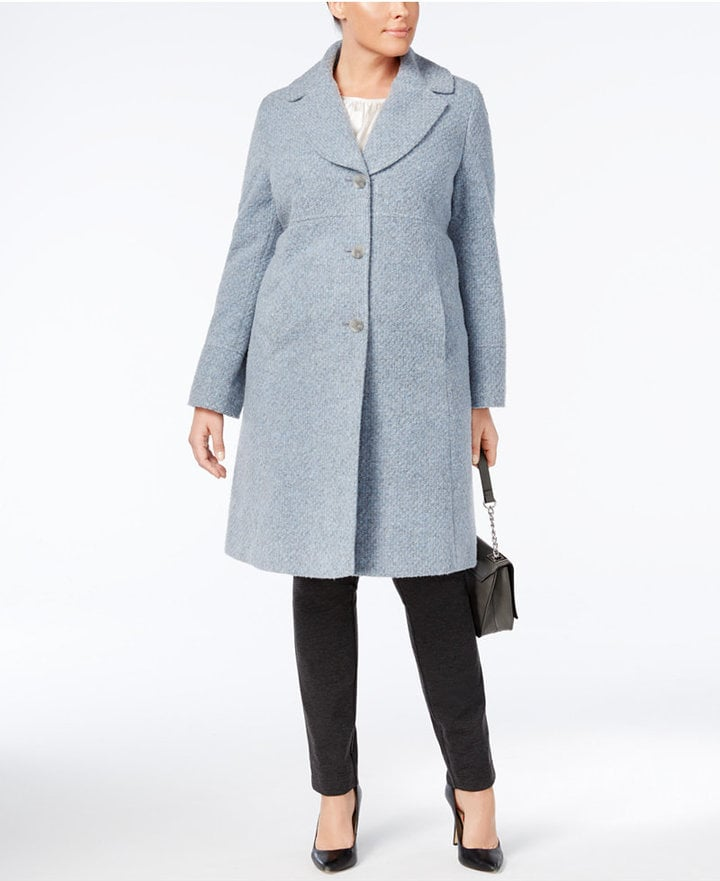 Jones New York Plus Size Notched Shawl-Collar Walker Coat | Kate ...
