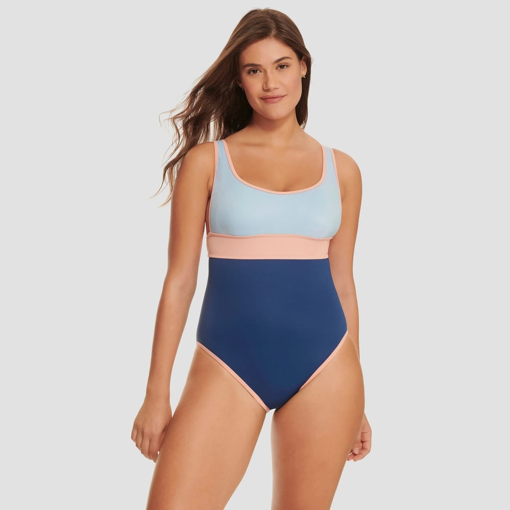 Slimming Control Scoop Neck One-Piece Swimsuit