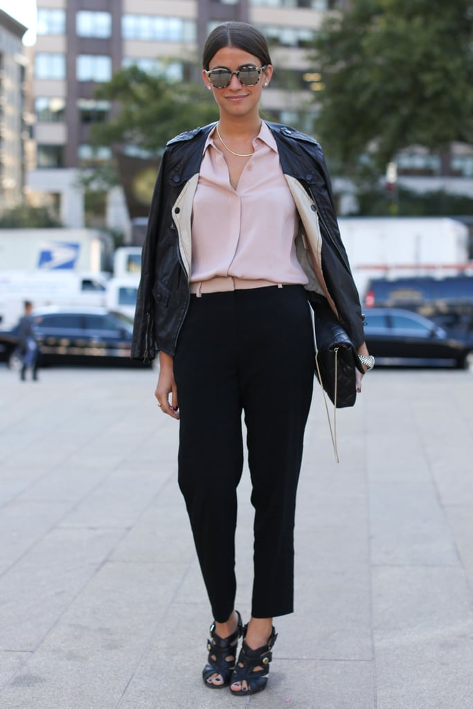 A pale hue popped against tougher leather and a pair of slouchy trousers.