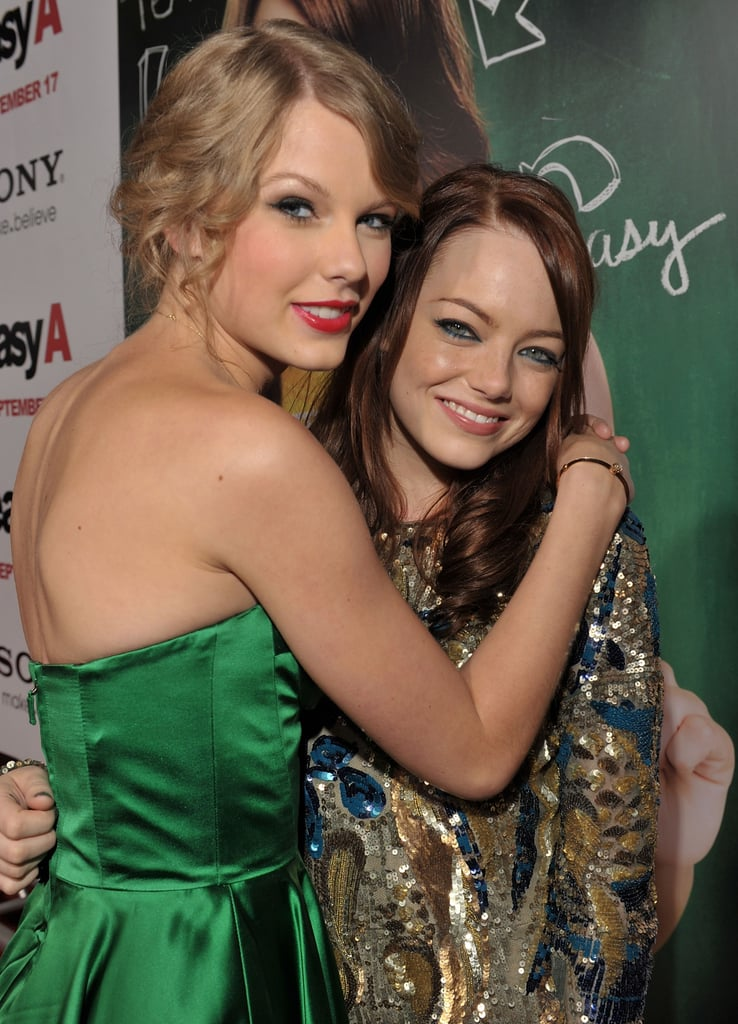 Emma Stone, Penn Badgley and Taylor Swift at the Premiere of Easy A