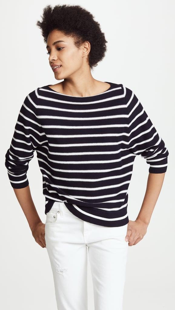 Gisele bundchen wearing striped shirt and jeans popsugar for Vince tee shirts sale