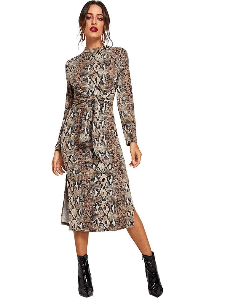 Floerns Snakeskin Midi Dress
