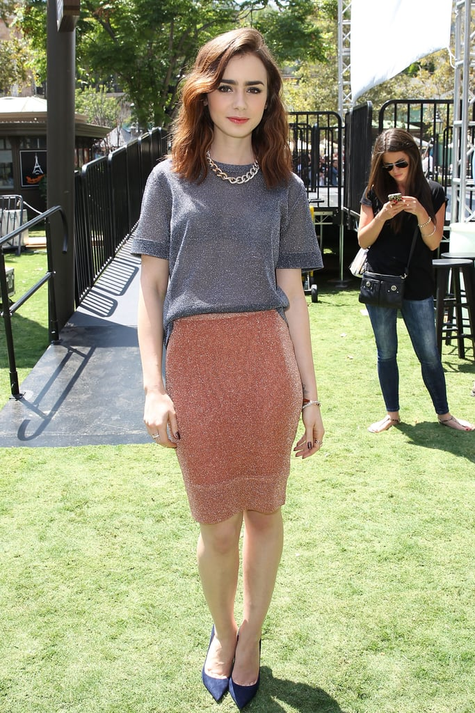 For the film's meet and greet, Lily kept her shirt on — but opted for a body-conscious pencil skirt on the bottom.