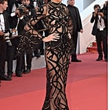 Kendall Jenner, who clearly isn't shy about showing off her figure, wore this sexy sheer Cavalli Couture gown in 2016.