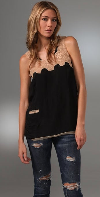 Beyond Vintage Tank With Contrast Lace ($196)