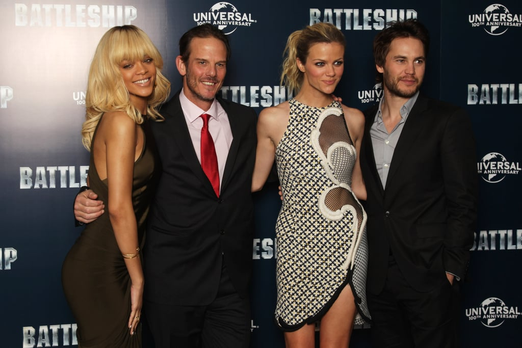 Rihanna, Peter Berg, Brooklyn Decker, and Taylor Kitsch laughed together at a photocall for Battleship in London.