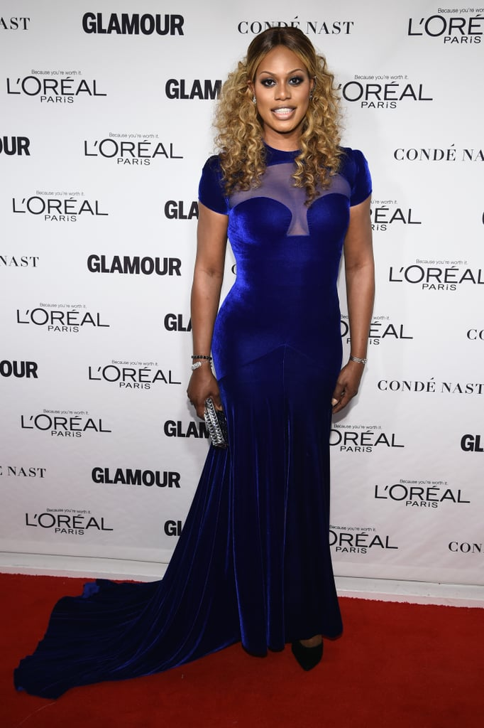 Laverne always looks lovely in blue, such as this Marc Bouwer gown she wore to the 2014 Glamour Women of the Year Awards.