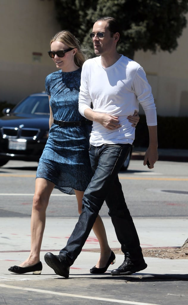 Michael Polish got a midday hug from girlfriend Kate Bosworth while out and about in LA yesterday. Kate rocked a ladylike dress paired with black ballet flats. She's usually decked out in her favorite JewelMint accessories, but this time, she stuck with a classic Chanel bag. She's still dedicated to JewelMint, though. Kate's been tweeting sneak peeks of her upcoming items from her jewelry collection, in addition to modeling pieces from her new limited-edition Boutique line of belts and bags.