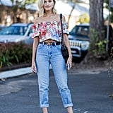 Denim got a flirty upgrade with florals and bare shoulders.