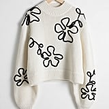 & Other Stories Wool Blend Floral Rope Jumper