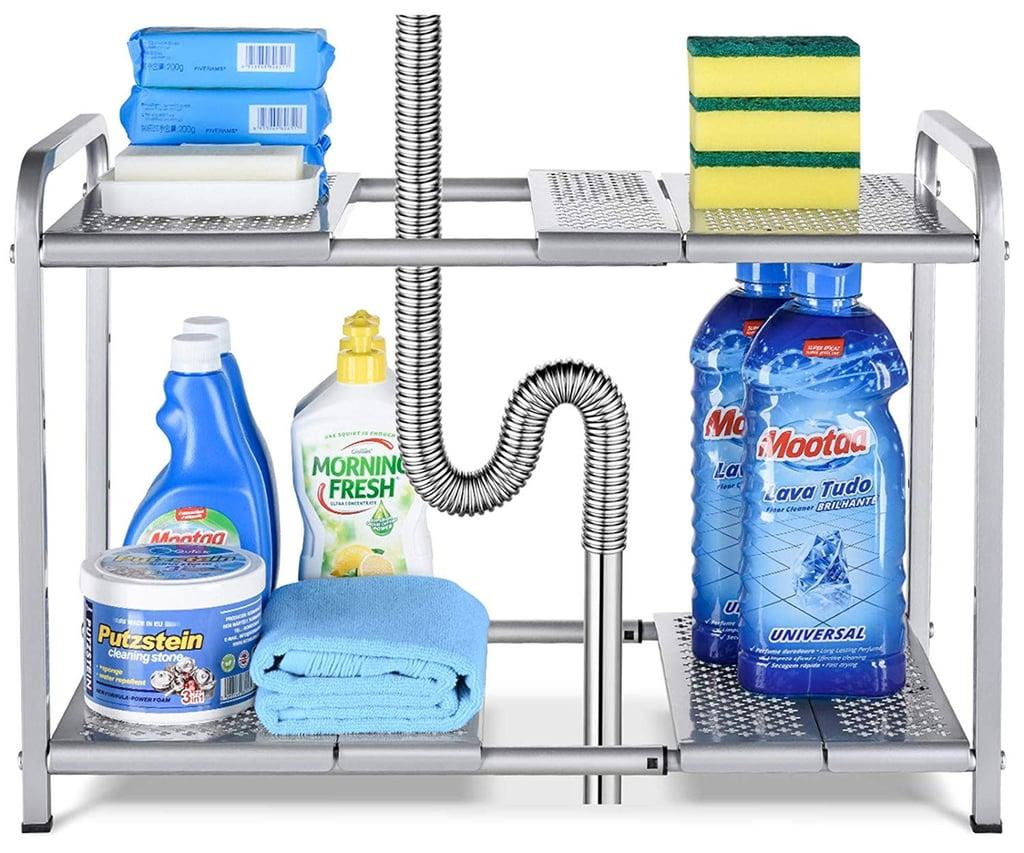 Bextsware Metal Under Sink 2-Tier Expandable Shelf Organizer