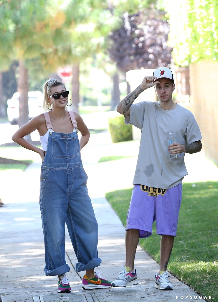 Hailey Baldwin and Justin Bieber Wearing Similar Colourful Sneakers