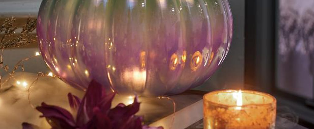 Iridescent Pumpkin Halloween Decorations in Purple and White