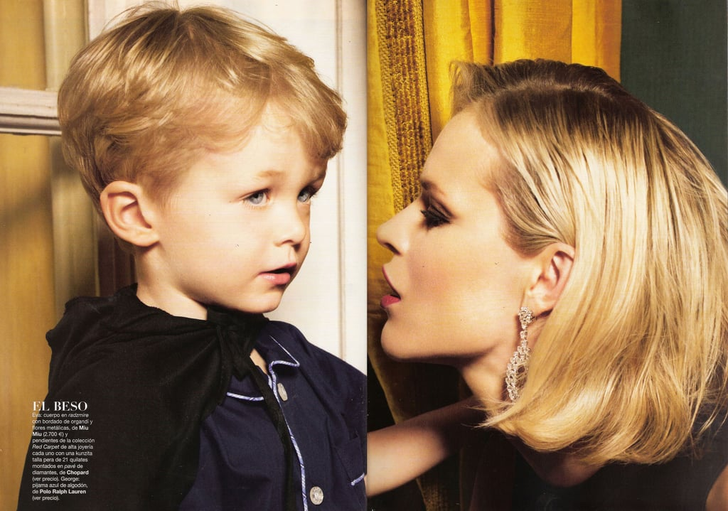 ">> Eva Herzigova and her 3-year-old son, George, appear on Vogue Niños España's Fall/Winter 2010 cover — with an accompanying editorial by Sofia Sanchez and Mauro Mongiello inside (left) — but Herzigova revealed today that next time she does a family editorial, there will be not one, but two children featured. The 37-year-old model is four months pregnant with her second child by partner Gregorio Marsiaj. ""Gregorio and I are thrilled with the wonderful news,"" she says. ""Our son George is being really sweet, asking all different questions about the baby and talking to my belly."""