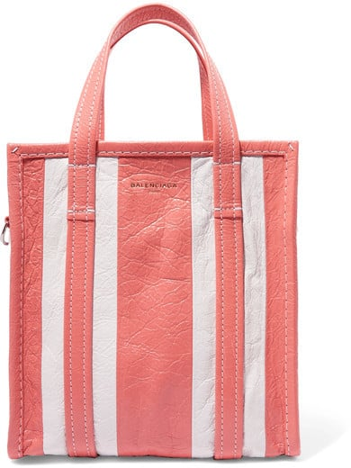 Balenciaga Bazar Small Striped Textured-Leather Tote