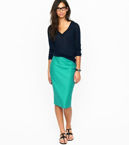 Add a jolt of color to your Spring look with this pretty teal pencil skirt.  J.Crew Long No. 2 Pencil Skirt ($128)