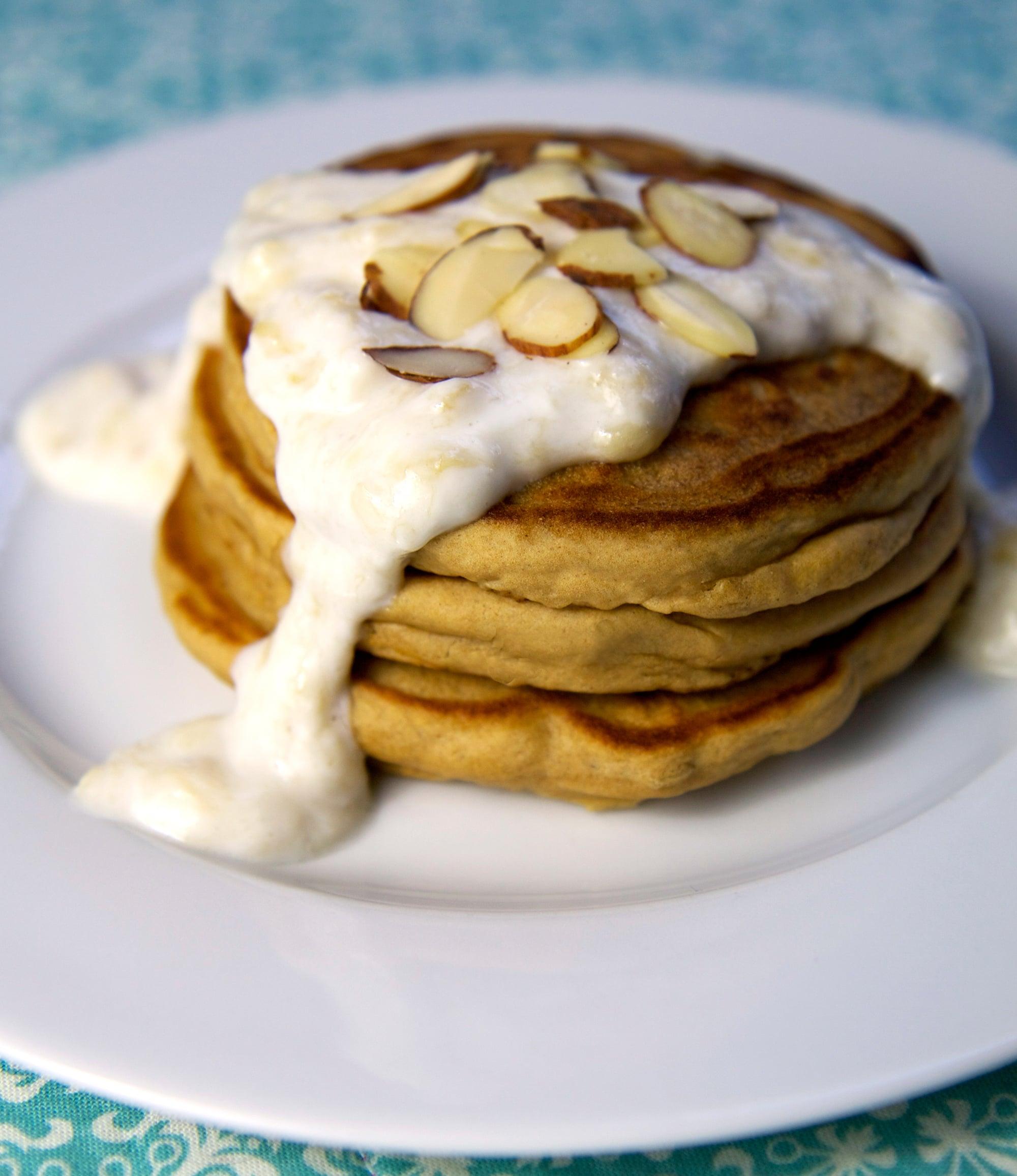 High-Protein Pancakes With Banana Cream Sauce