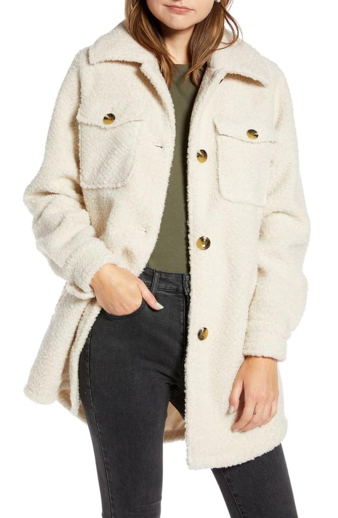 Something Navy Berber Faux Fur Shirt Jacket