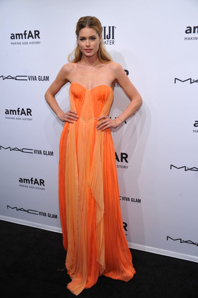 Doutzen Kroes wore a citrus-colored J.Mendel gown.