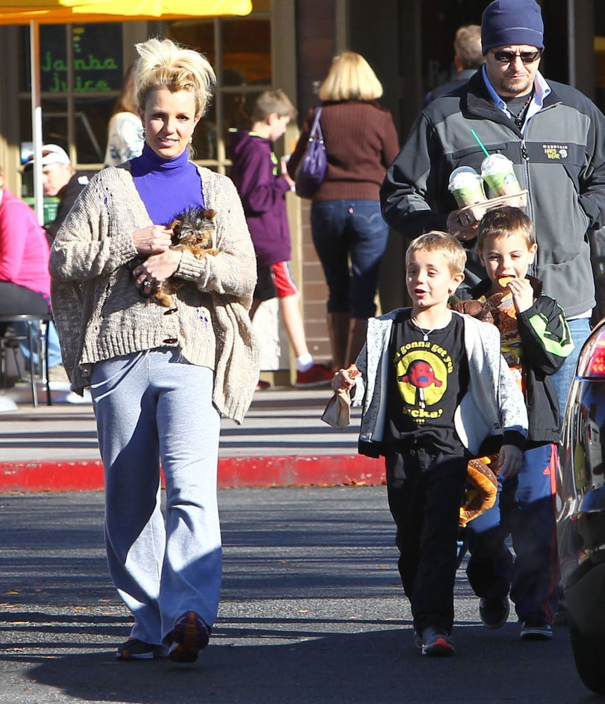 "Britney Spears was joined by her sons, Sean Preston Federline and Jayden James Federline, for a stop at Starbucks on Saturday in LA. Britney also brought her pup, Hannah, along for the fun. Absent from the family outing was her fiancé Jason Trawick, who celebrated his 41st birthday Saturday as well. Brit was sure to wish Jason a happy birthday on Twitter, though. She shared a picture of a young Jason blowing out candles on his cake many birthdays ago, saying, ""There are definitely going to be a few more candles on your cake tonight. Happy birthday baby, love you so much!"" Brit was able to celebrate with her husband-to-be during a break from wrapping up her X Factor-judging duties — the show winds down with the final cut this week."