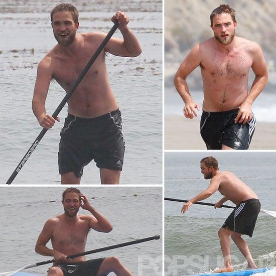 Robert Pattinson Shirtless Pictures Paddleboarding