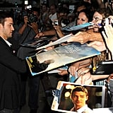 Justin Timberlake signed autographs outside of the Trouble With the Curve premiere in LA.
