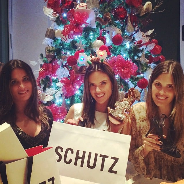 Alessandra Ambrosio flaunted her gifts on Christmas Eve.