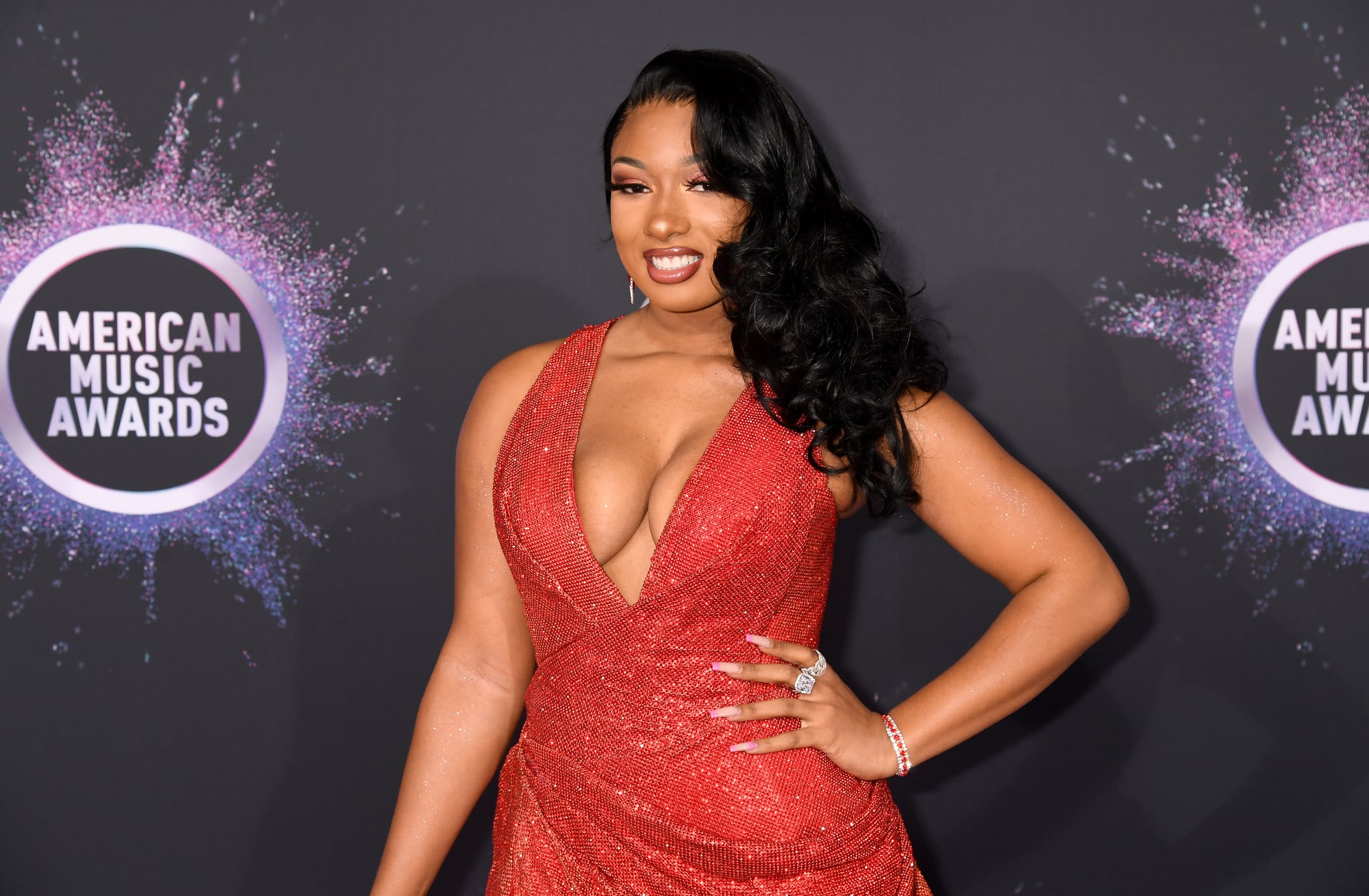 LOS ANGELES, CALIFORNIA - NOVEMBER 24: Megan Thee Stallion attends the 2019 American Music Awards at Microsoft Theatre on November 24, 2019 in Los Angeles, California. (Photo by Jeff Kravitz/FilmMagic for dcp)