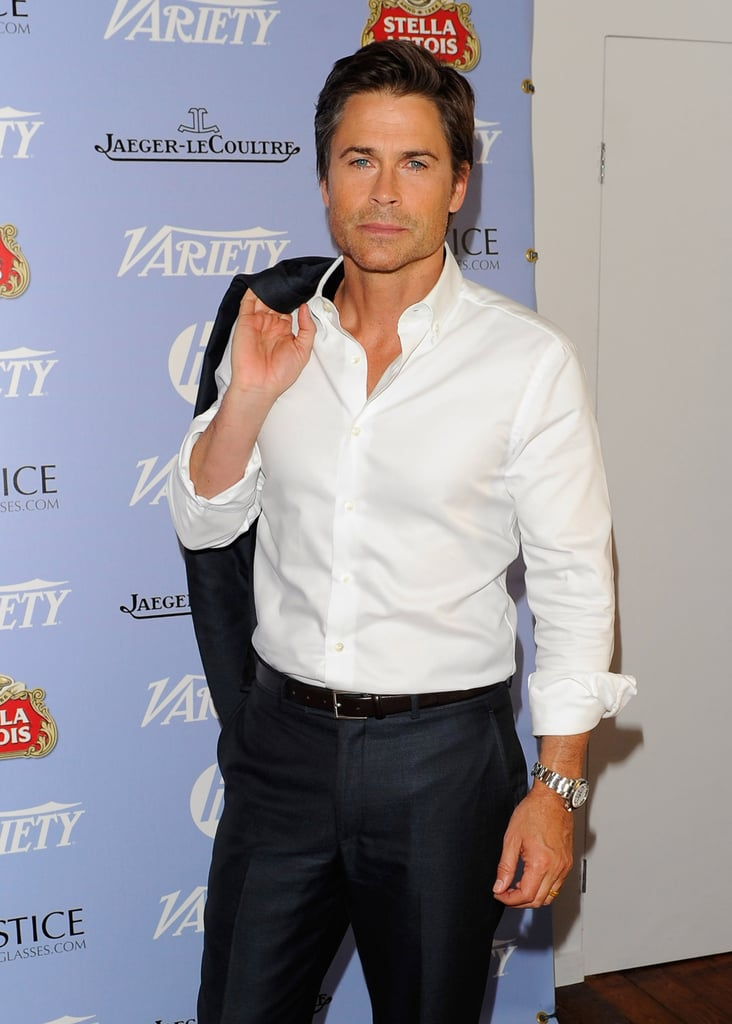 Rob Lowe posed for cameras the inside the Stella Artois Lounge at Cannes.