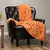 Faux Fur Elegant Rectangular Embossed Throw Blanket